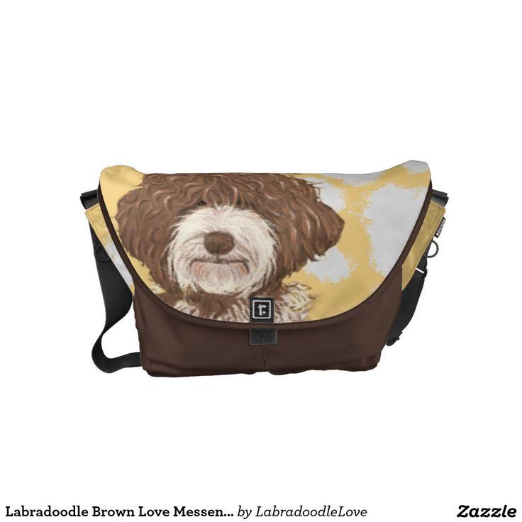 Labradoodle Brown Love Messenger bag   Pet Cartoon