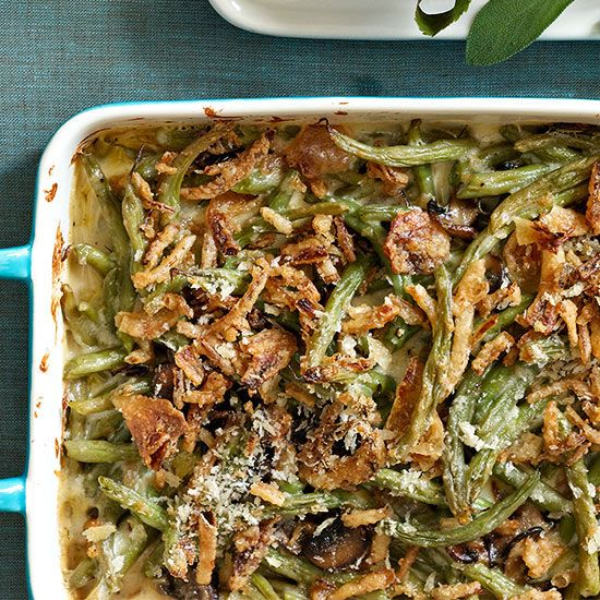 Cheesy green bean casserole: our updated version of the holiday dinner staple.