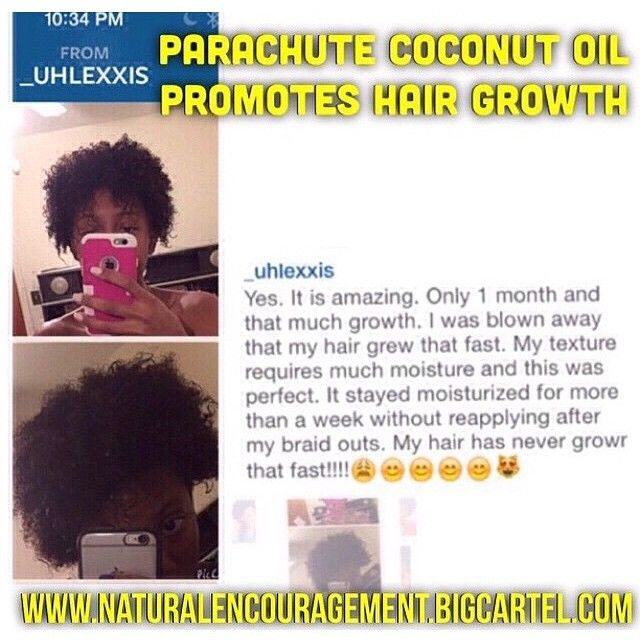 This is a very honest review. I use Parachute Coconut Oil as well (@lit26) I've seen over 3 inches of hair growth in close to 4 months of consistent use. Link in bio @NaturalEncouragement to purchase. Very low cost! If you love coconut oil you'll LOVE Parachute Coconut Oil. Reviews @naturalencouragement It really is the best. Helps with hair growth, eczema, dandruff relief, itch relief, helps dry hair, adds shine to dull looking hair. ✨ Link to purchase at the top of @NaturalEncouragement…