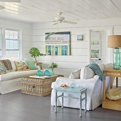 lovely beach house living room | 15 Spring Decorating Ideas | Lovely Living Rooms | Beach ...