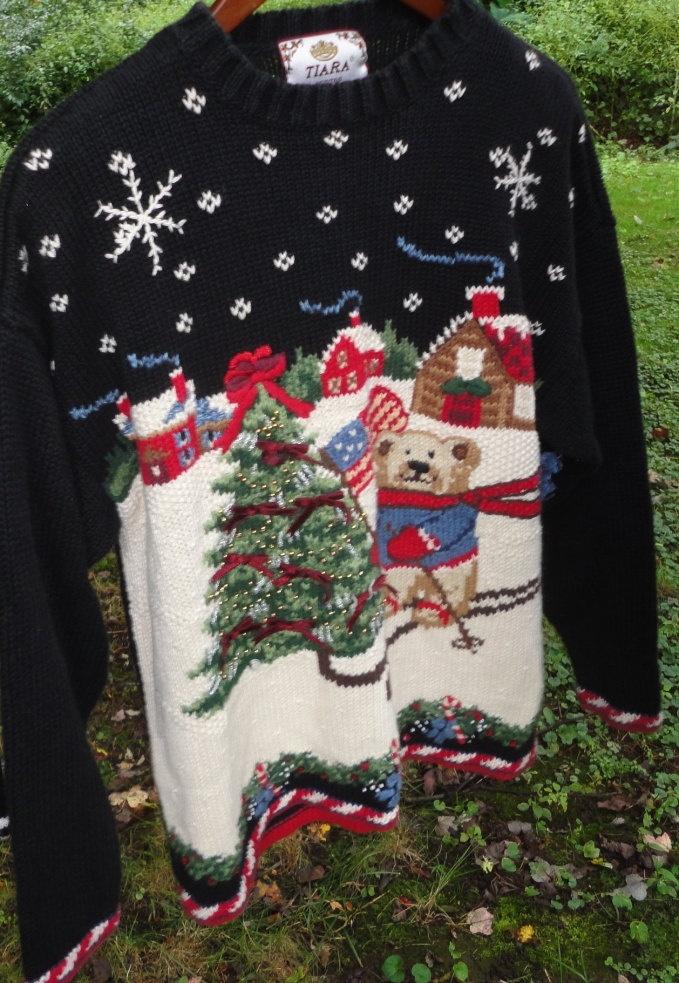 ugly Christmas party sweater Christmas Tree skiing Teddy Bear American Flag.  via Etsy.