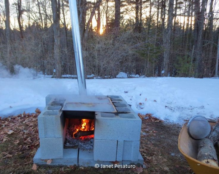 How to Make Maple Syrup II: Boiling, filtering, canning, color, and flavor - One Acre Farm  Maple sap evaporator made of concrete blocks, buffet pans, and HVAC duct pipe