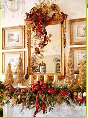 95 best Christmas Mantel Inspiration images on Pinterest #0: 925d7071bdcd42d92ca1b9ae01f1bb76 christmas mantel decor gold christmas tree