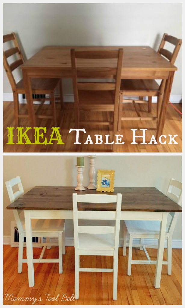 Mommy's Tool Belt l DIY Blog This Ikea table hack turns farmhouse with Minwax dark walnut stain and Folk Art white chalk paint. See the full tutorial at Mommy's Tool Belt and learn how to make this simple table farmhouse fabuilous!