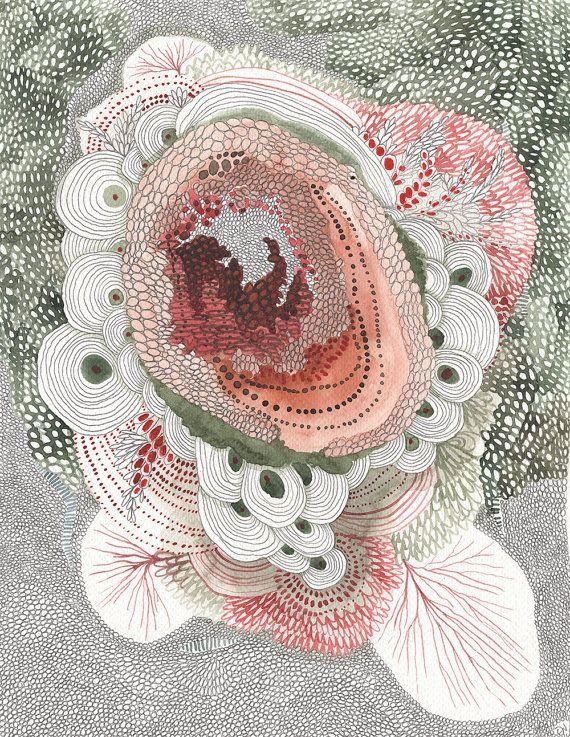 Je ne pouvais pas arrêter de peinture et le dessin lors de la création de celui-ci. J'ai voulu expérimenter pour voir à quoi ressemblerait la pièce si je suis allé tout le chemin à la pointe. Je voulais garder cette palette de couleurs assez simple avec des roses et verts et puis les nuances de gris des marques de crayon. Quand je regarde cette pièce je vois une sorte de coeur ou de l'organe central dans le centre. Il travaille tranquillement tandis qu'autour d'elle le monde est floraison et…