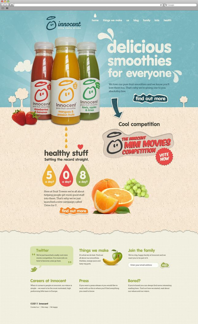 Smoothies, Webdesign