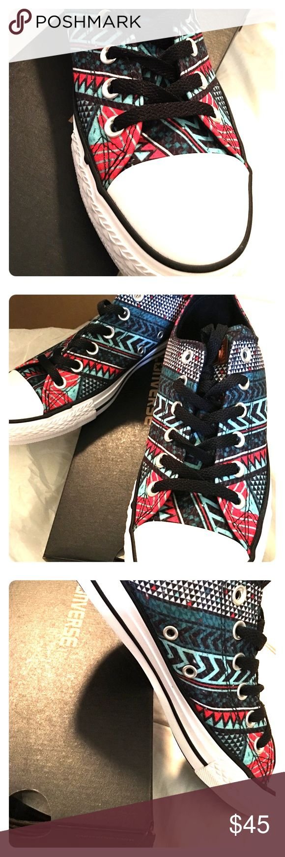 NWT CONVERSE AZTEC PRINT UNISEX Really good looking pair of converse. Never worn. Slightly large for me. Aztec print including aqua black and red shades. I don't have a lot of price movement in these. I am listing them low. Women's 9 Men's 7 Converse Shoes Sneakers