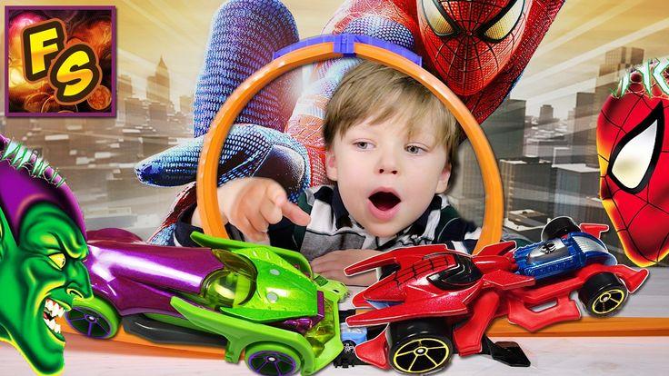 РАСПАКОВКА Человек паук и зеленый Гоблин машинки ХотВилс Спайдермен на т...