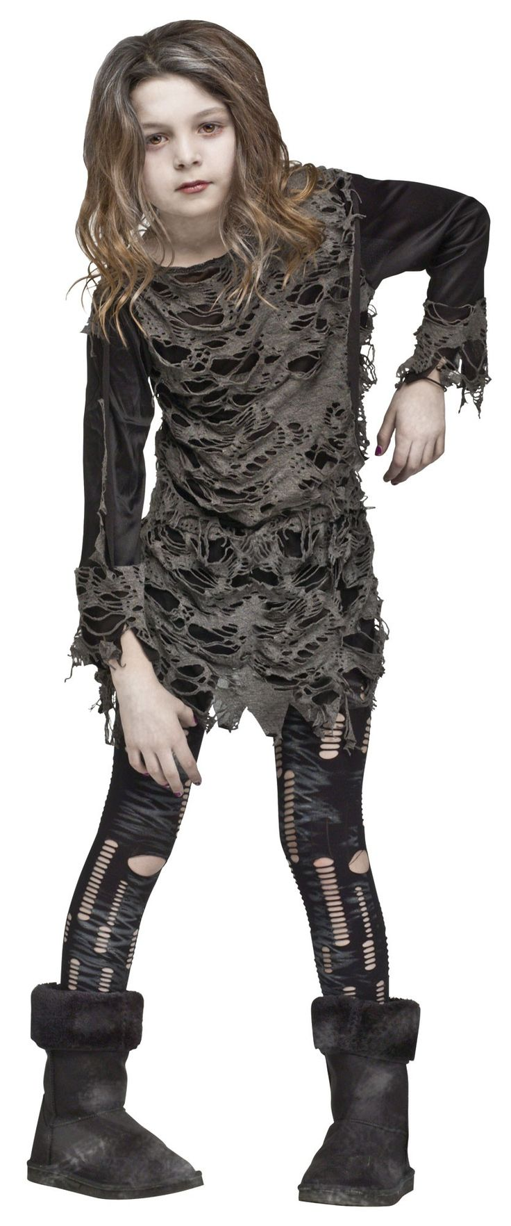 Walking Zombie Girl - This is a zombie girl costume. This is a two-piece costume with a dress and leggings. The dress is stretchy with a layer of tattered-looking grey fabric over the body of the dress and the cuffs. The cuffs and bottom of the dress have a zigzag torn-looking cut. From the shoulders and the sides of the waist are pieces of attached fabric. #halloween #zombie #girls #children #kids #yyc #calgary #costume