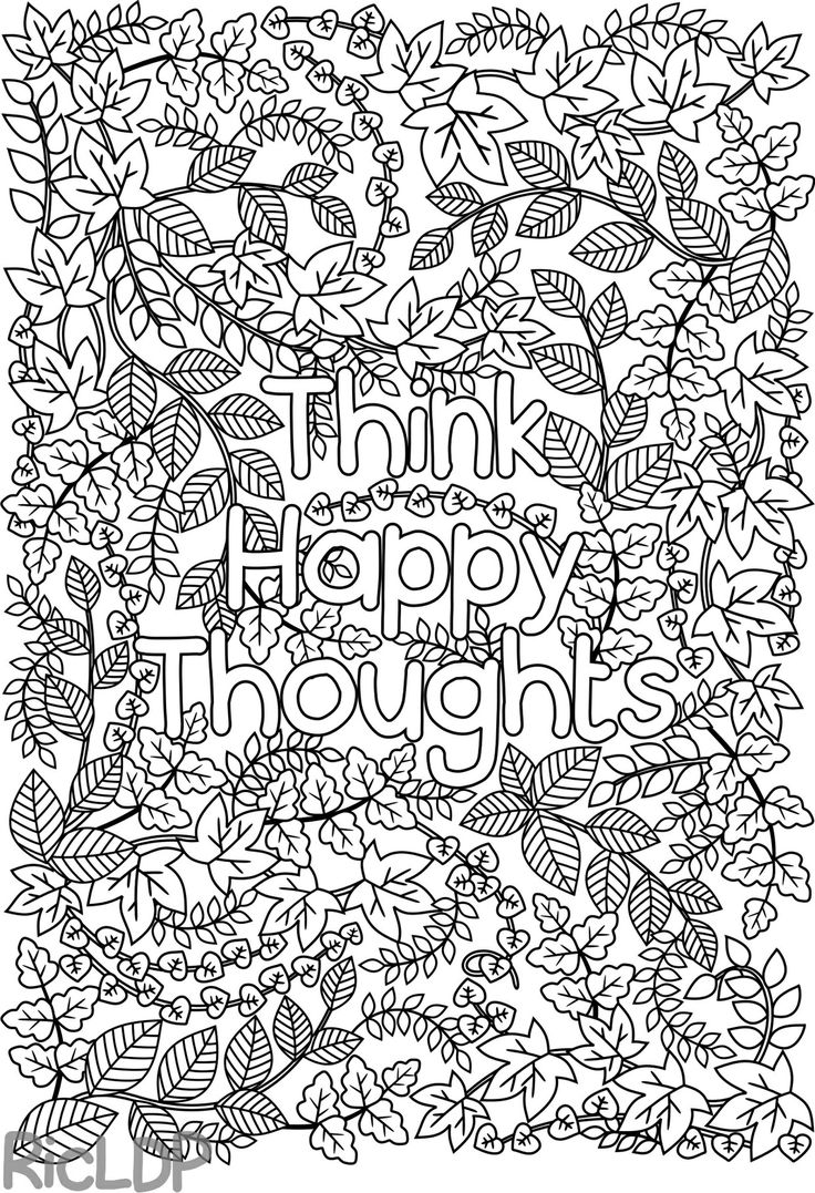 Colouring pages holi - Think Happy Thoughts Coloring Page For Adults