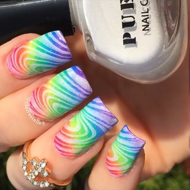 Rainbow nails by @clairestelle8. See more amazing nail art videos with the FREE…