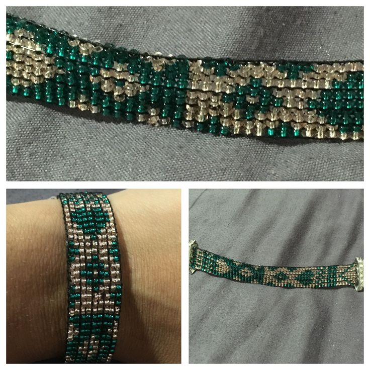 Bead loom jade with rose gold. Made by Genie Sheri