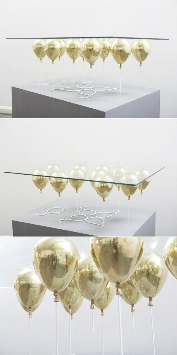 gold balloon table