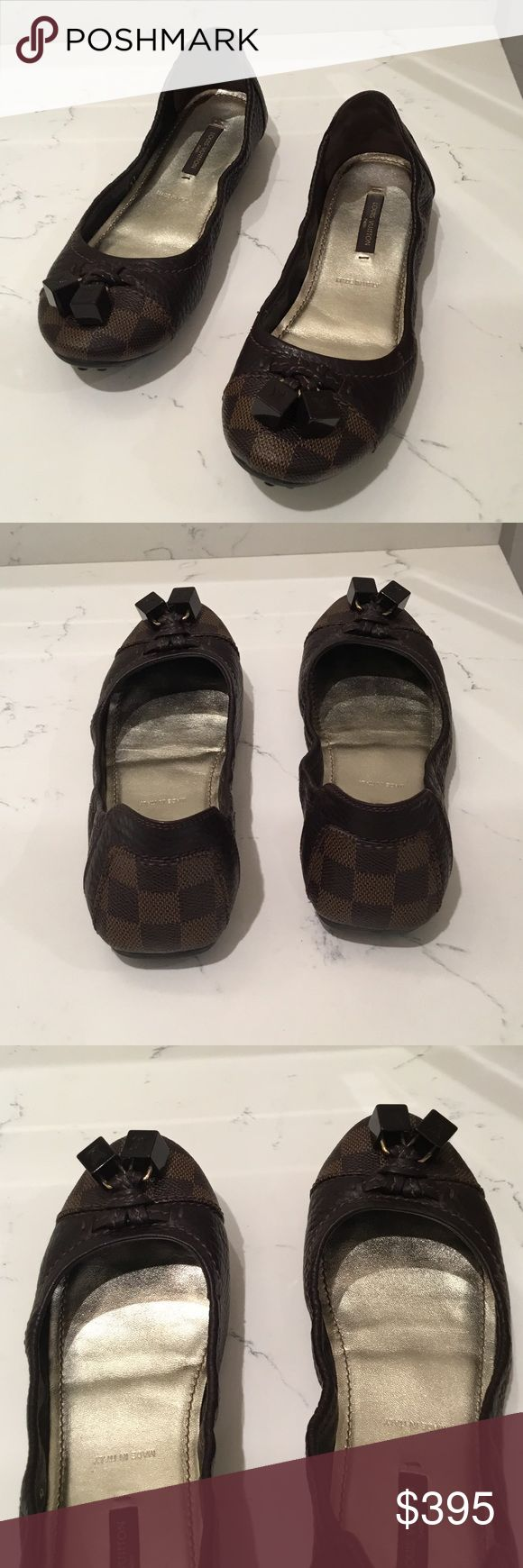 Louis Vuitton Ballet Flats Louis Vuitton Damier Canvas with Brown leather Ballet Flats. In excellent used condition. Worn once. Dust bags included Louis Vuitton Shoes Flats & Loafers