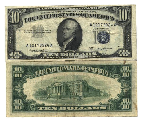 u.s. ten dollar bill | US Currency Paper money Silver certificates at LYNN COINS and CURRENCY ...