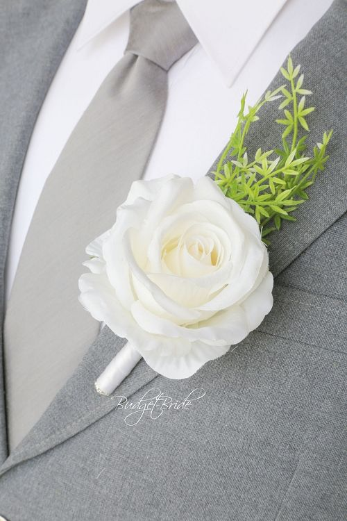 Rose Groom wedding boutonniere ideas for ushers, groomsmen and fathers buttonholes, flowers to match Davids bridal colors, silk flowers
