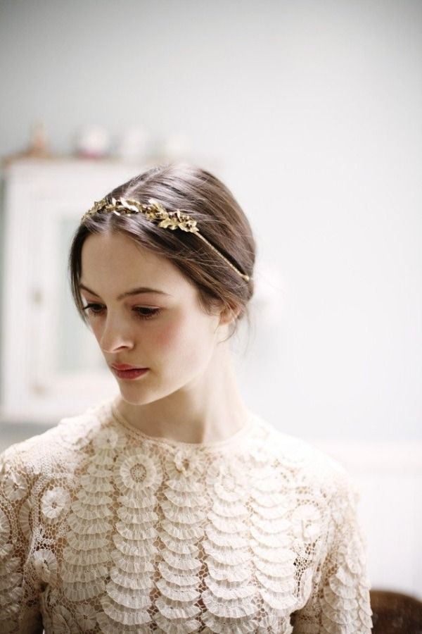 : Belath Photography, Lace Tops, Crowns, Hair Pieces, Gold Headbands, Hair Accessories, Headpieces, Jennifer Behr, Lace Dresses
