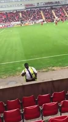 "Throwback to Yeovil fans singing Beautiful Girls to a ""Sean Kingston lookalike"" steward at Leyton Orient.  Credit: Football Away Days"