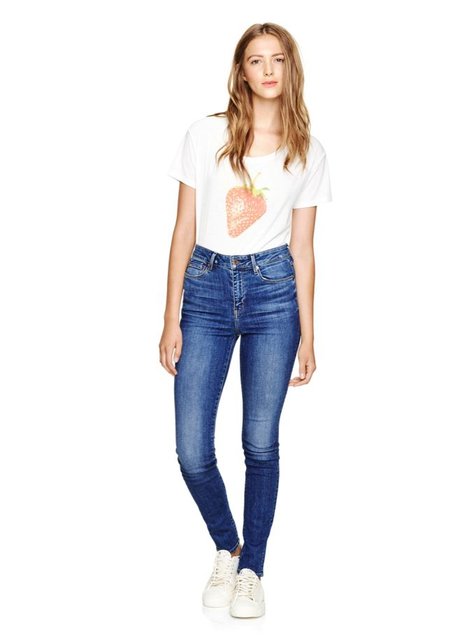 High rise skinny. Aritzia. Spring/Summer 2016. Made in Los Angeles, this pair of jeans has a true mid-blue wash that is versatile and classic. The jeans are designed with an ultra-flattering high-waist and classic 5-pocket styling. Styled with Talula Mott T-Shirt.