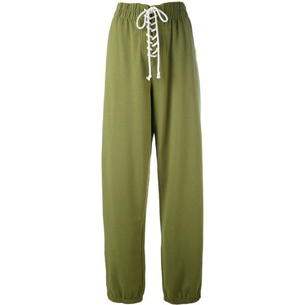 Fenty X Puma lace-up detail sweatpants ($248) ❤ liked on Polyvore featuring activewear, activewear pants, green, sweat pants, green sweat pants, green sweatpants, puma sportswear and puma sweatpants