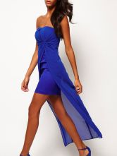 Magnifique robe lognue bleue bustier devant court et derrière long-No.1