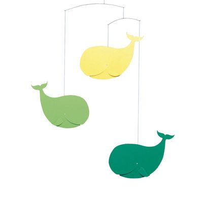 This Happy Whales Mobile brings in a few different colors to your nursery.
