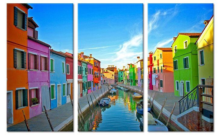 Drieluik canvas schilderij Kleurrijke huizen Burano Venetië