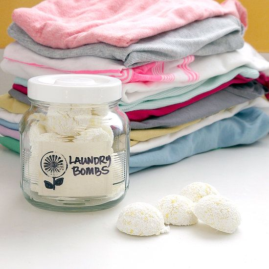 All-in-One Laundry Bombs | POPSUGAR Smart Living - Small mixing bowl, Grater, 1 1/2 cup washing soda, 1/2 cup Fels-Naptha, 2 tablespoons Epsom salts, 3 tablespoons hydrogen peroxide, 1/4 cup vinegar, 15-20 drops essential oil, Sheet pan, Parchment paper, Measuring spoons