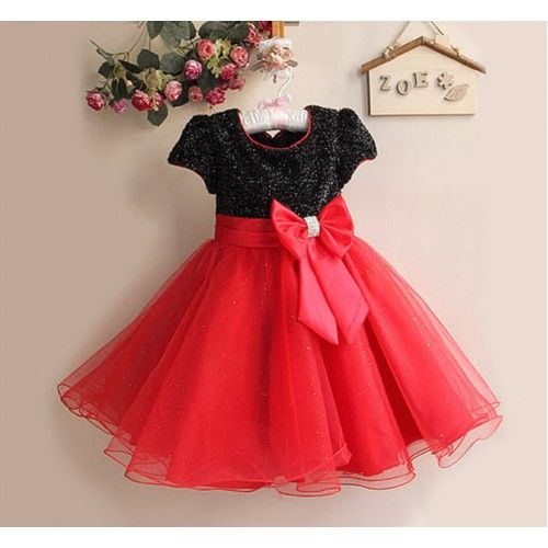 Red & black sparkle party dress