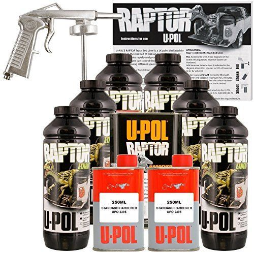 U-POL Raptor Black Urethane Spray-On Truck Bed Liner Kit w/ FREE Spray Gun, 6 Liters >>> Want additional info? Click on the image.
