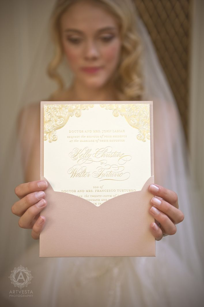 Blush and gold wedding invitations, simple but elegant! #weddinginvitations  #invitations