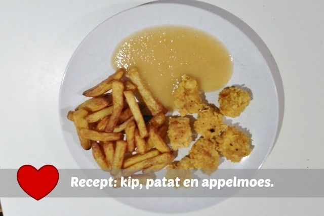Recept huisgemaakte kip, patat en appelmoes - Mamaliefde