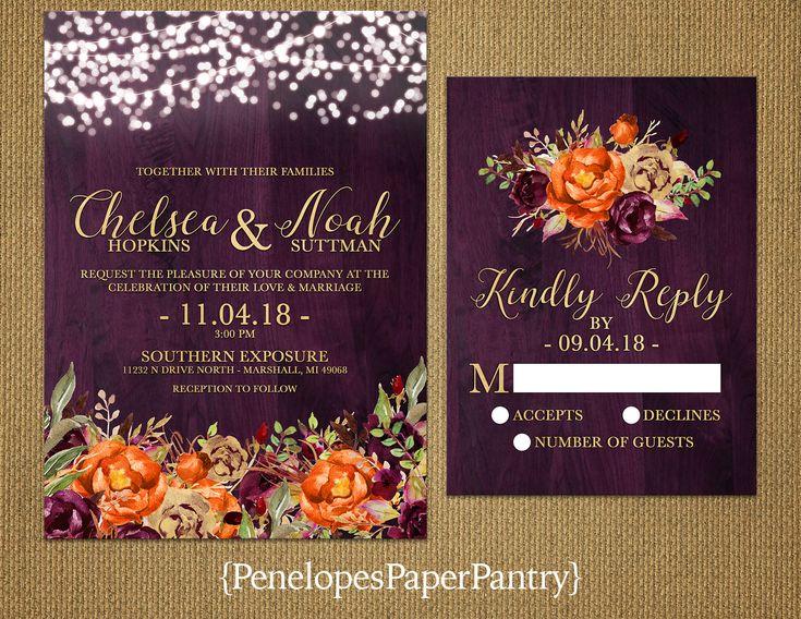 Romantic Plum Fall Wedding Invitation,Purple,Gold,Orange,Gold Print,Barn Wood,Fairy Lights,Rustic,Shimmery,Printed Invitation,Wedding Set by PenelopesPaperPantry on Etsy https://www.etsy.com/listing/549193814/romantic-plum-fall-wedding