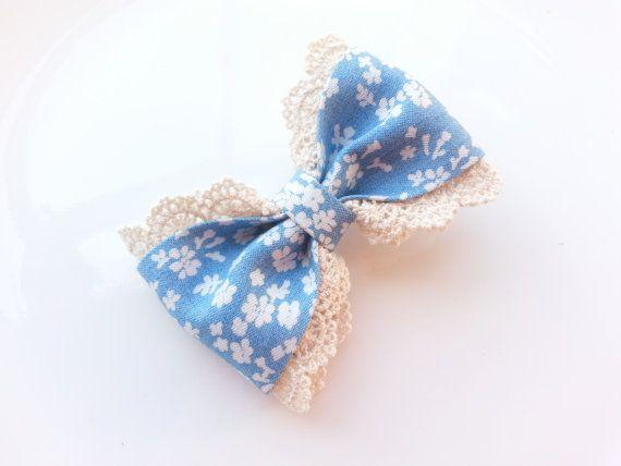 Girls Hair Bow Clip Flower Print Hair Bow by BowtiquebyprincessT, $5.90