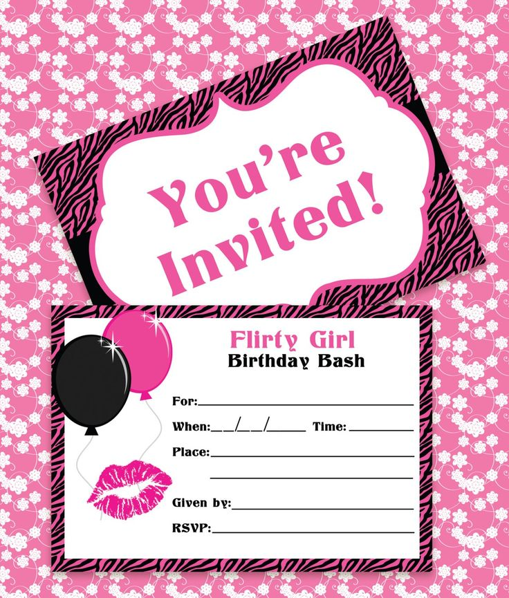 Birthday Invitations Classic Fine Pink Color Themed Free Birthday - birthday invite templates free to download