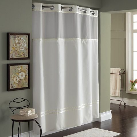 hookless escape 71inch x 74inch fabric shower curtain and shower curtain liner set in ivory