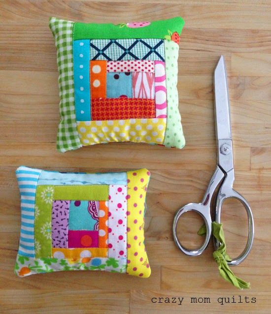 crazy mom quilts: small projects - orphan blocks to pin cushions. Fill with crushed walnut shells. Great idea!