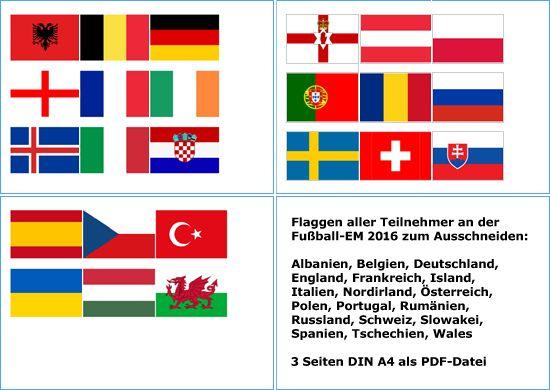 Flaggen Fussball Europameisterschaft Vorlage