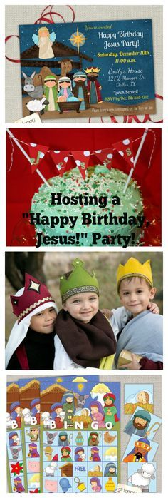 How to host a Christmas Happy Birthday Jesus Party for Sunday School with Nativity themed bingo & nativity games, wisemen crowns, Jesus birthday cake, Christmas crafts, and religious Christmas decorations.