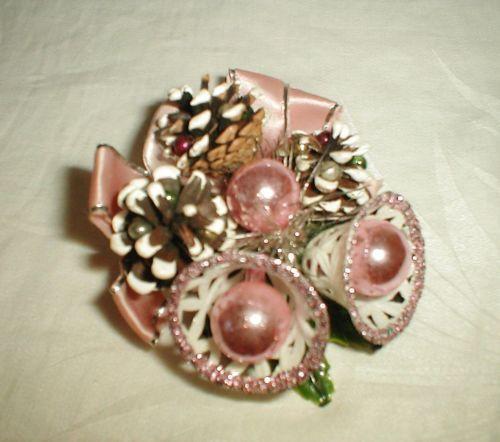 Vintage Christmas Corsage Pine Cones Bells | eBay