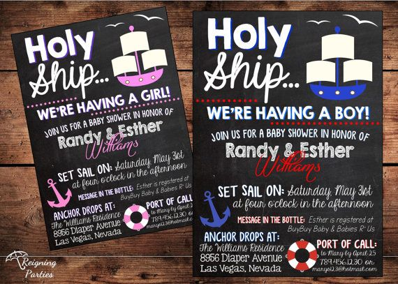 THE ORIGINAL Holy Ship Weu0027re Having A Baby!   Funny Nautical Theme Baby  Shower Invitation  Ships Ahoy!   Digital