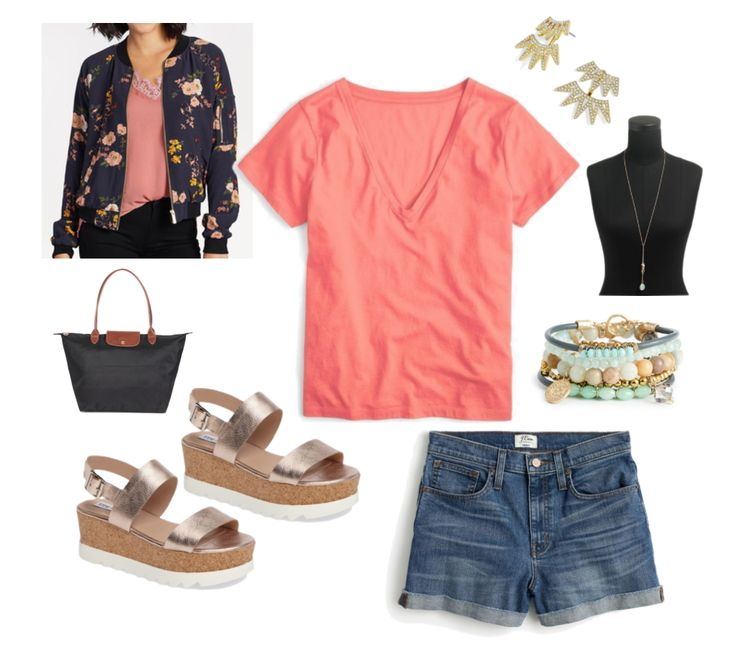 Coral tee with printed bomber jacket and denim shorts for a day in Australia