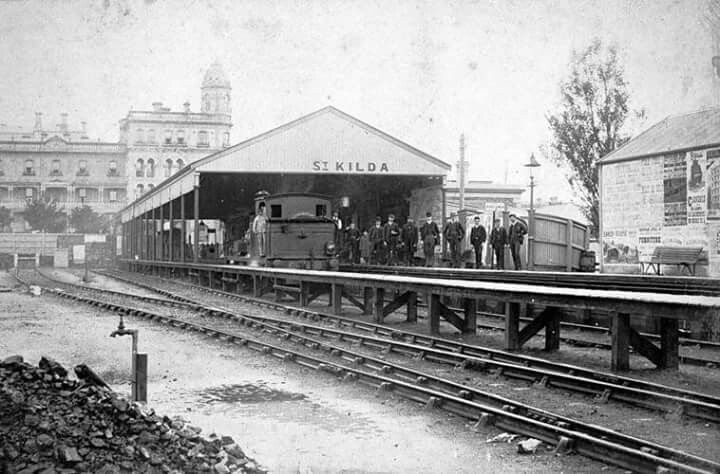 St Kilda Railway Station, Victoria,circa 1885.