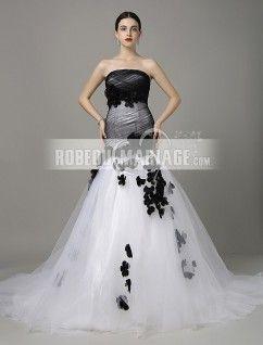 Sans bretelle robe de mariée en tulle en couleur sirène traîne chapelle fleur