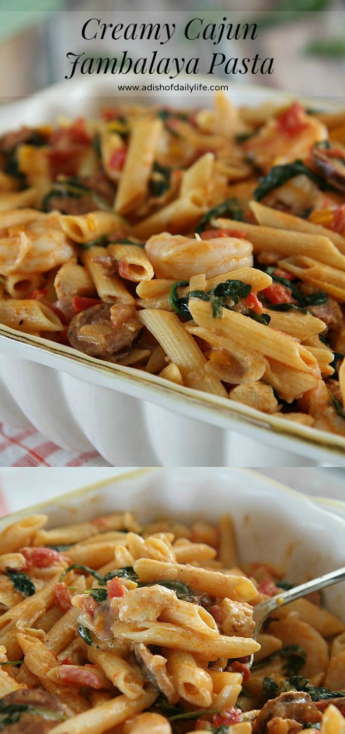One Pot Creamy Cajun Jambalaya Pasta...an easy and delicious meal for families on the go! (just over 35 min to make!) @Barilla US #ad #OnePotPasta #Pmedia