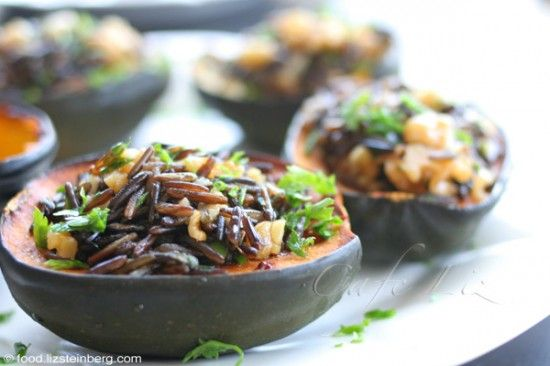 acorn squash stuffed with  wild rice: Food Blogs, Chestnut Squashes Wild Ric, Acorn Squashes, Herbs, Wild Rice, Squashes Stuffed, Israeli Recipe, Squashes Recipe, Delicious Food