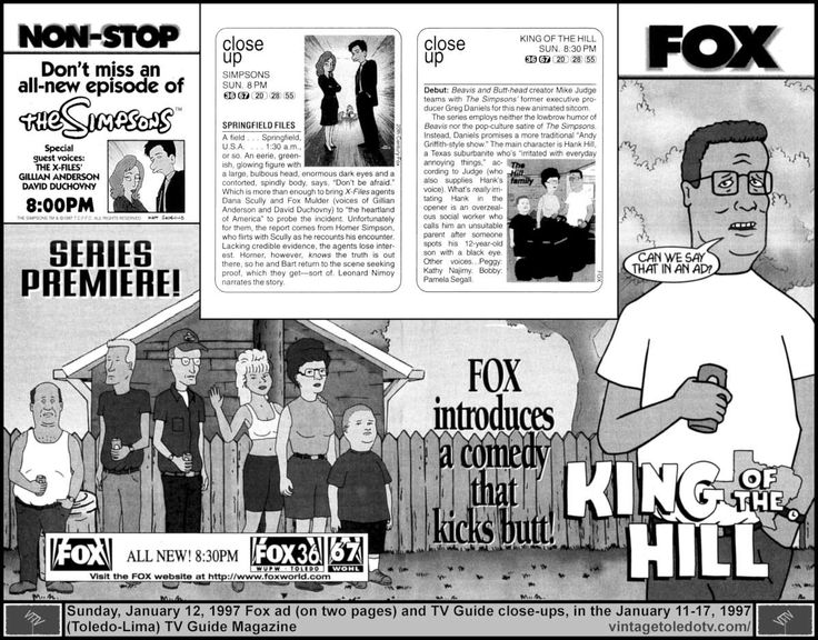 """Vintage Toledo TV - FOX - Non-Stop Fox Sunday Night Shows (1/12/97 TV Guide ad / close-ups on 2 pages) The Simpsons, """"The Springfield Files"""" and the series premiere of King of the Hill."""