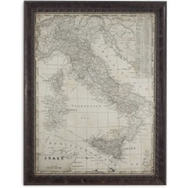 Bassett Mirror Company Framed Antique Map of Italy