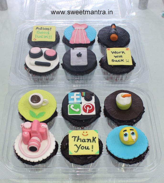 Homemade eggless Farewell theme customized 3D designer fondant cupcakes showing best friend's memories,moments at Wakad, Pune