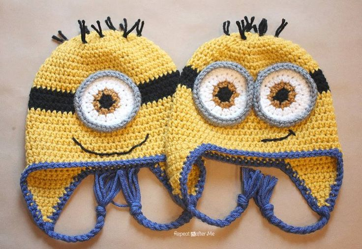 Minion Hats pattern:  http://www.repeatcrafterme.com/…/crochet-minion-hat-pattern…